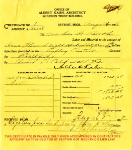 Albert Kahn's bill to George Booth for Cranbrook House lighting fixtures provided by Edward.F. Caldwell Co.  Papers of George and Ellen Booth 14:23