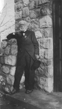 Henry Wood Booth outside the Meeting House (now Brookside School)