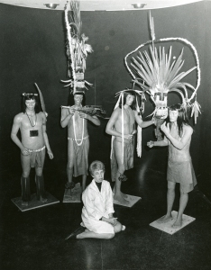 Betty Odle sits with the Wayanas she created, Sep 1969. Cranbrook Archives.