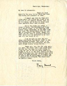 Correspondence to Frederick Alexander