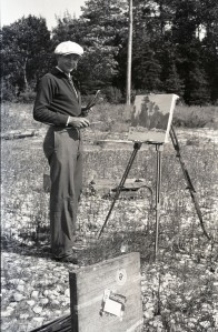 Dudley Blakely painting at group site, Bois Blanc Island, 1938. Cranbrook Archives.