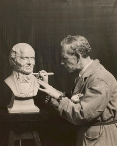 Charles Francis Hopkinson completeing bust of Samuel Cunard Courtesy Cunard Archiv, Special Collections and Archives at the University of Liverpool