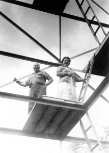 Carolyn Farr Booth and Chauncy Bliss on the Fire Tower at Good Hart, ca 1940. Cranbrook Archives.