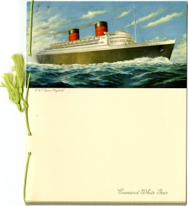 Farewell Dinner Menu for R.M.S. Queen Elizabeth Courtesy Cranbrook Archives
