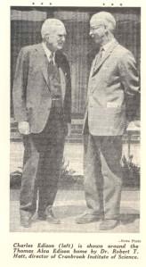 Thomas Edison's son, Charles Edison, visits Edison House Courtesy Detroit News, June 1966
