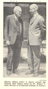Thomas Edison's son, Charles Edison, visits Edison House Courtesy Detroit News, June 1966
