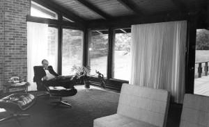 Dr. Robert Hatt in Edison House  living room, August 1966. Harvey Croze, photographer  Courtesy Cranbrook Archives