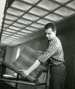 Unknown student setting up work for Student Show, 1958. Copyright Cranbrook Archives.