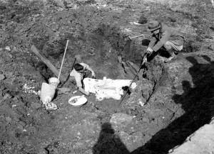 Excavation site of the Bloomfield Hills Mastodon, 1934. Cranbrook Archives.