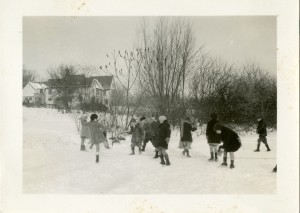 Brookside children ice skating, 1928.