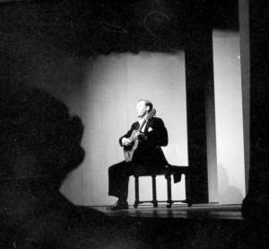 Richard Dyer-Bennet performs at Cranbrook, Feb 1954. Harvey Croze, photographer.