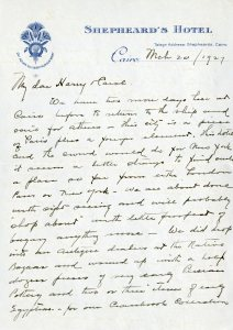 Letter from Cairo, Mar 1927.