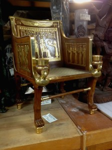 Replica created by Egyptian artisans and purchased by George Booth in 1927. The original chair is in the Egyptian Museum in Cairo. Photograph courtesy of Cranbrook Institute of Science.