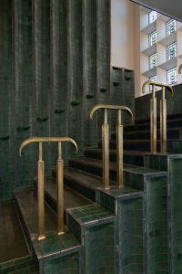 Green Lobby stairwell leading to the second floor, photographer PD Rearick, 2015.