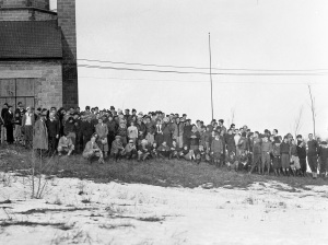 Cranbrook School boys at Camp Brady, Feb 1930. W. Bryant Tyrrell, photographer. Courtesy Cranbrook Archives.