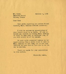 Correspondence from Kingswood School to the American Consul, 1939. Courtesy Cranbrook Archives.