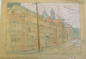 Pencil and pastel sketch of the exterior of the Detroit News building, James Scripps Booth, 1917.