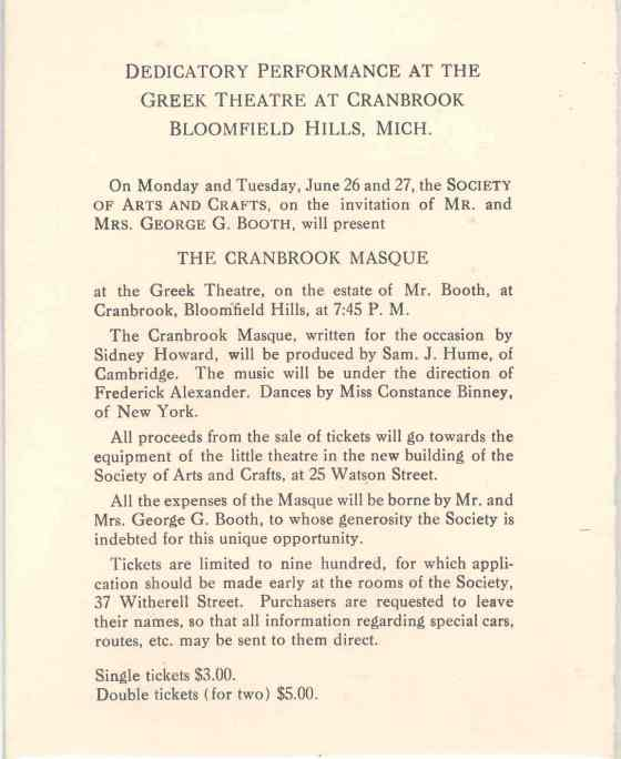 Invitation Card, The Cranbrook Masque, June 1916. George Gough Booth Papers.