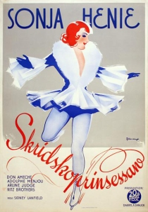 Film poster featuring Sonja Henie. Skriskoprinsessan is the Norwegian word for Ice Princess.