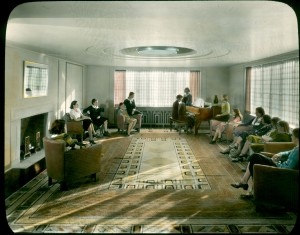 The rug for Reception Room III (Rose Lounge) in situ, Kingswood School, 1932. George Hance, photographer, Courtesy Cranbrook Archives.