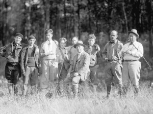 Cranbrook School students with Colonel George (seated), The Edwin George Reserve, Sep 1930. W. Bryant Tyrell, photographer.