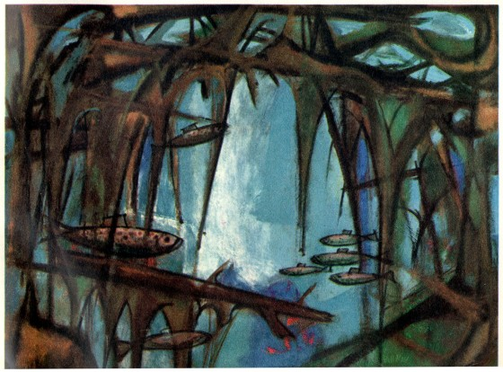 """Fish,"" Big Spring, Michigan. Lincoln-Mercury Times, May-June 1956. Painting by Bill Moss. Moss was a graduate of the Academy of Art and painted over 300 works for Ford Times from 1949-1958."