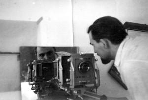 Korab at work at Eero Saarinen and Associates, 1957. Courtesy Cranbrook Archives.