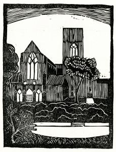 "Christ Church Cranbrook, from ""Highlights of Detroit"". Cut by Eugene Reeber, Jefferson Intermediate School, 1932."