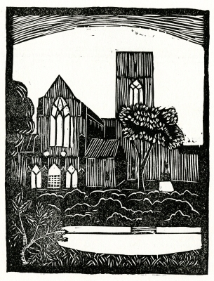 "Christ Church Cranbrook, from ""Highlights of Detroit"". Cut by Eugene Reeber, Jefferson Intermediate School, 1932."