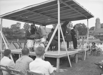 Dave Brubeck Quartet, Cranbrook School, July 14, 1960. Harvey Croze, photographer. Copyright Cranbrook Archives.