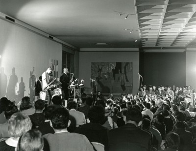 Yusef Lateef and his band perform in the CAA galleries. Harvey Croze, photographer. Courtesy Cranbrook Archives.