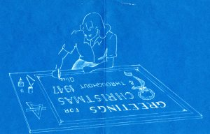Inside design of holiday card from Alice Warren, 1947.