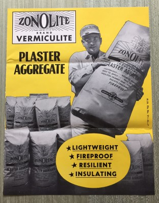 Zonolite plaster by Vermiculite purports to be insulating, crack-resistant, and fire-safe, ca 1951.