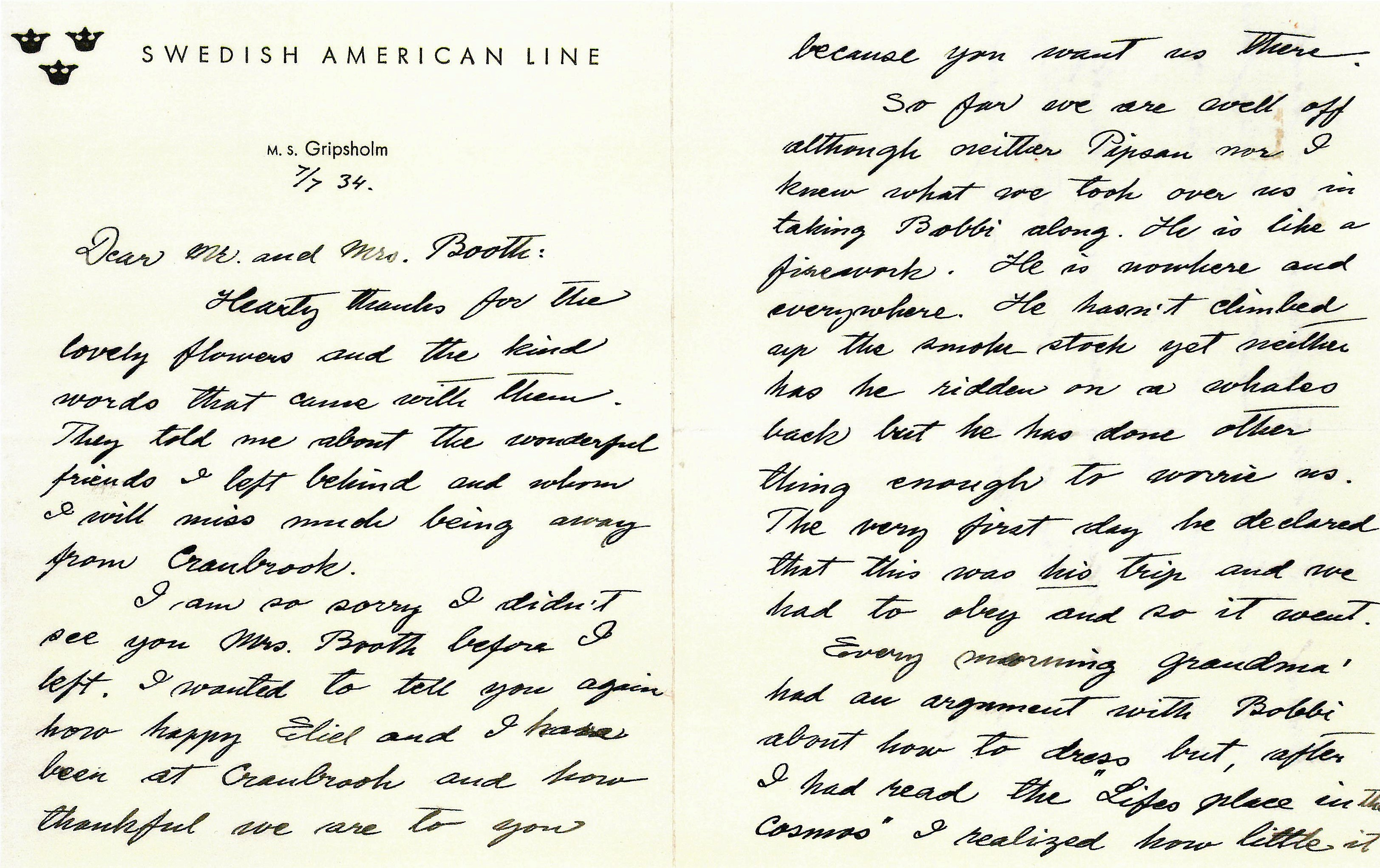 Letter from Loja Saarinen to George Booth_GGB Papers 19-4