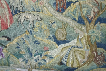 Detail of Queen Anne Style Settee upholstery (CEC 335)