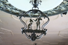 Detail of the Library's Edward F. Caldwell & Company chandelier (CEC 535.1)