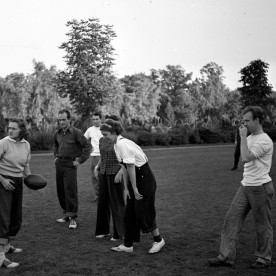 Rapson (right) plays football with Academy students at Cranbrook, Sep 1939.