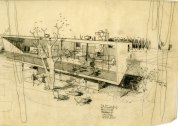 A design with Van der Meulen for the Dugan residence, 1946.