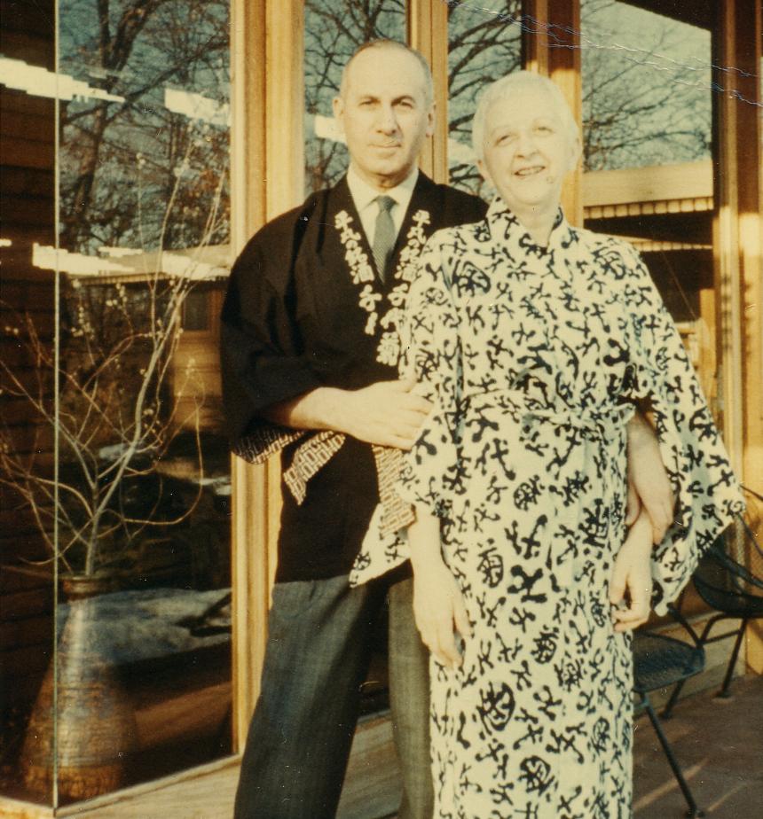 Melvyn and Sara Smith in Kimono at Smith House 1968.jpg