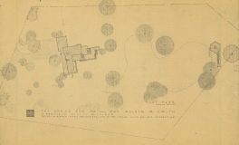 Smith House site plan with first tea house by William Wesley Peters c 1965