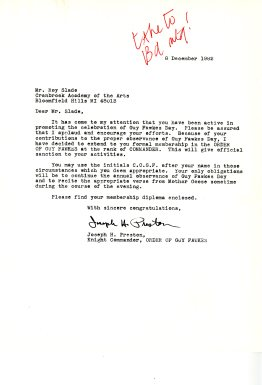 Letter to Roy Slade, 8 December 1982/Cranbrook Academy of Art Office of the President (Roy Slade) Records (1995-09).