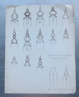 Scripps' sketches of Austrian steeples. Courtesy Cranbrook Archives.
