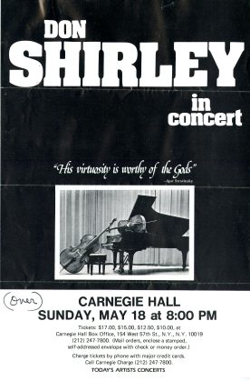 Front of Concert Flyer Sent by Don Shirley to Henry Booth in an Envelope Postmarked May 9, 1986. Collection of Cranbrook Archives, Henry Scripps Booth and Carolyn Farr Booth Papers (Box 40: Folder 9).