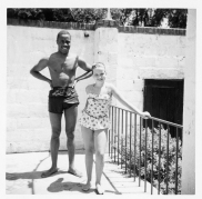 Don Shirley and Martha Booth at the Thornlea Pool, June 20, 1956. Collection of Cranbrook Archives, Henry Scripps Booth and Carolyn Farr Booth Papers (Photo Album 21).