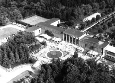 Aerial shot of county fair at CAA Jun 1958 Harvy Croze photographer copyright cranbrook archives