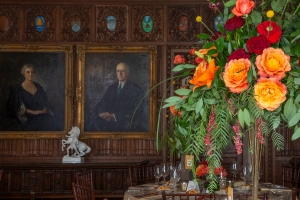 Portrait of Ellen S. and George G. Booth in the Oak Room at Cranbrook House. Photo by PD Rearick.