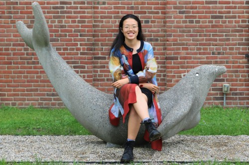 Desai Wang, CKU '19, with Jim Miller-Melberg's Porpoise play structure at the Cranbrook Middle School for Boys.