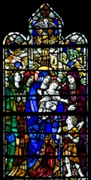 Panel 1, Motherhood: Hannah, mother of Samuel; Monica, mother of St. Augustine; the Virgin Mary; Elizabeth with her son, John the Baptist. Tom Booth, photographer. Copyright Christ Church Cranbrook 2010.