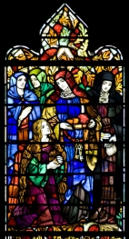 Panel 2, Christ's Associates: Mary, mother of James the Apostle; Mary, mother of Mark the evangelist; Mary Magdalene; Martha, sister of Lazarus; the poor woman who put her mite in the Temple treasury. Tom Booth, photographer. Copyright Christ Church Cranbrook 2010.