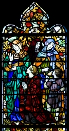 Panel 3, Early Missionaries: Pricilla, who helped Paul in Greece; Lydia, who housed him in Galatia; Phoebe, who helped many including Paul at Cenchrea; Dorcas, a benevolent woman of Joppa whom Paul raised from the dead. Tom Booth, photographer. Copyright Christ Church Cranbrook 2010.